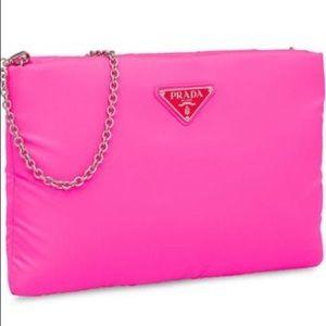 Prada fluorescent pink clutch bag